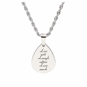 Teardrop Inspirational Tag Necklace - Live Laugh Love