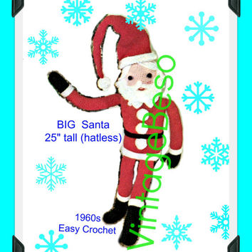 "BIG Santa EASY CROCHET Pattern Vintage 60s Christmas Santa Soft Toy 25"" Tall Jolly Santa Stuffed Soft Toy Gift Instant Download PdF Pattern"