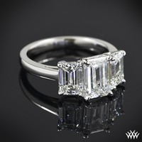 Custom Emerald 3 Stone Diamond Engagement Ring | 13103