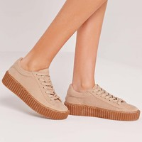 Missguided - Lace Up Flatform Trainers Nude