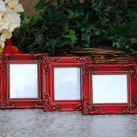 Ornate picture frames: Set of 3 vintage country cottage chic red hand-painted small decorative tabletop photo frames