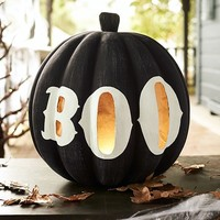Black Pumpkin with Boo Large Luminary