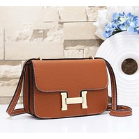 Hermes Fashion New Leather Shopping Leisure Shoulder Bag Women Brown
