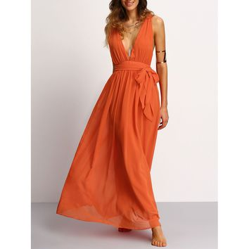 Orange Deep V-Neck Sleeveless Flared Maxi Dress