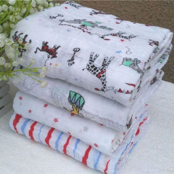 120x120cm Muslin Baby Swaddling Blanket Newborn Infant 100% Cotton Swaddle Towel Random Delivery