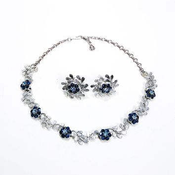 Vintage Coro Demi Parure, Silver Tone with Blue Rhinestones, Necklace, Earrings, 1950s Designer Jewelry