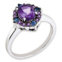 Sterling Silver Amethyst & Tanzanite Halo Ring