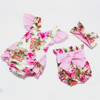 2016 New style baby girl romper summer boutiques baby girls vintage floral ruffle romper cloth with bow knot shorts headband