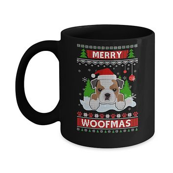 Bulldog Merry Woofmas Ugly Christmas Sweater Mug
