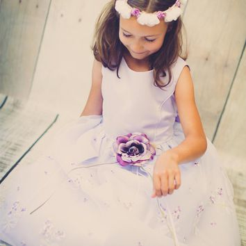Lilac Satin & Floral Embroidered Organza Overlay Girls Occasion Dress (Girls 2T -  Size 12)
