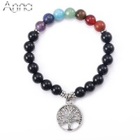 A&N Handmade Life Tree 7 Chakra Bracelet For Women Nature Black Carnelian Yoga Bracelet Healing Charm Bracelet Hot Sale Jewelry