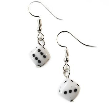 Lucky Black & White Dice Earrings