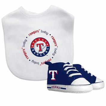 Texas Rangers MLB Infant Bib and Shoe Gift Set
