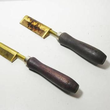 1 Pair of Vintage Hot Combs 40's Hot Press Straightening Comb Beauty Shop Decor Brass