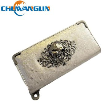 CHUWANGLIN  LC35 Long women's speed to sell the purse Restoring ancient ways punk wallet skulls raindrop tattoos carteira wallet