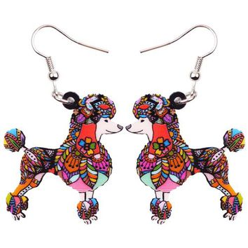 Big Acrylic Pattern Drop Dangle Poodle Dog Earrings New Fashion Animal Jewelry For Women Girls Accessories