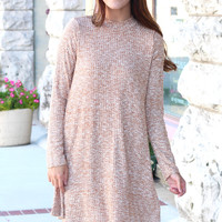 High Neck Long Sleeve Ribbed Dress {Camel}