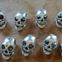 Silver Colored Skull Beads | Metal Skull Beads | Large Hole Beads | Rocker Beads | Halloween Beads | Jewelry Making Supplies | Destash