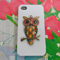 iPhone 4 4S Hard Case Cover With Cute owl bronze leaves for Apple iPhone 4 case,iphone 4S case, iPhone 4GS case   SJK-2549