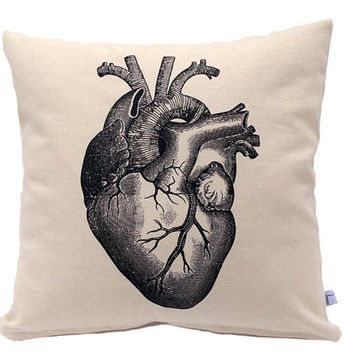 Anatomical Heart Pillow - 16 inch Throw Pillow - Screen Printed
