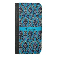 Rainbow Blue Damask Personalized Wallet Case