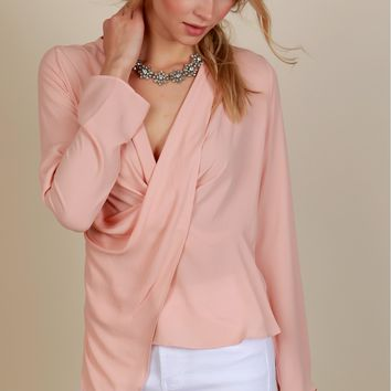 Professionally Fabulous Wrap Top Blush