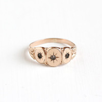 Antique 10k Rose Gold Filled Triple Rhinestone Ring -  Vintage Victorian Size 9.5 Three Paste Stone Incised Star Men's Late 1800s Jewelry