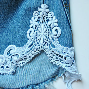 Lace Crocheted Vintage High Waisted Denim Shorts Custom Made to Order