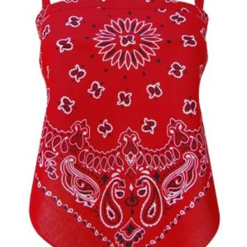 Women's Red Paisley Skimpy Bandana Top
