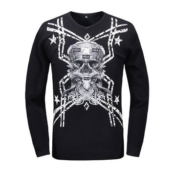New 2016 Autumn Winter Warm Men Sweaters 3D Skull V-Neck Printed Pullovers Harajuku Hip Hop Knitted Sweater Men Jersey Hombre