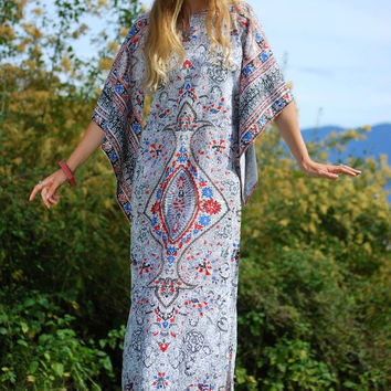 Vintage 70s Indian Dress, Pakistani Cotton Caftan Dress, Dashiki Dress Angel Sleeve Maxi Dress Boho Batik Ethnic Dress Festival Hippie Dress