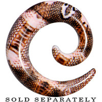 00 Gauge Blushing Snake Skin Acrylic Spiral Taper | Body Candy Body Jewelry