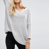 Noisy May Deep V-Neck Oversize Knit Jumper at asos.com