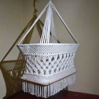 100% Handmade Organic Off-White Cotton Baby Crib Cradle Bassinet Hammock - Modern