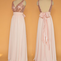 Sequin Prom Dresses Rose Gold/ Open Back Prom Dresses / Pink chiffon dress, Sequin Evening Dress
