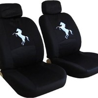 Front Low Back Black Seat Covers Set - Mustang Horse Pony Custom Embroidered Logo