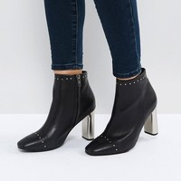 Sol Sana Alicia Black Studded Heeled Ankle Boots at asos.com
