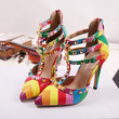 Mary Jane Rainbow Rome Heels Punk Rivet Pointed Toe Shoes