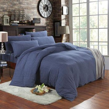 ac PEAPON Bedroom On Sale Hot Deal Cotton Denim Knit Bedding Set [45978812441]