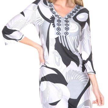 Belinda Mini Dress Print Gray Black Drop Waist 3/4 sleeve V Neck