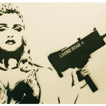 MADONNA LUCKY STAR 11x14 Pop Art Graffiti Art on Canvas Urban Art Original Art Fine Art Spray Paint Painting
