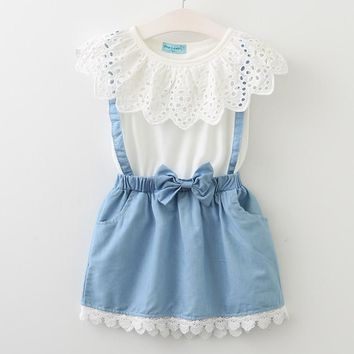 White princess belt lace dress sleeveless cotton summer dress lovely baby girls clothes 3-7 Years