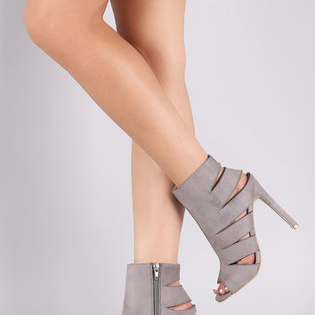 Suede Slash Cutout Peep Toe Stiletto Booties