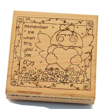 Valentine Stamp - Angel Stamp - Whimsical Stamps - Stamps With Quotes - Card Making Stamp - Paper and Ink Stamps