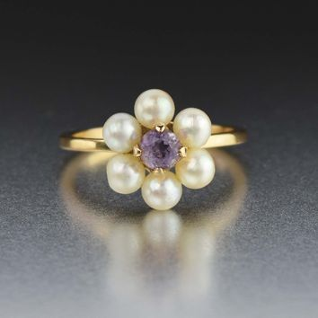 Antique Pearl Amethyst Ring, 14K Gold Pearl Halo Ring