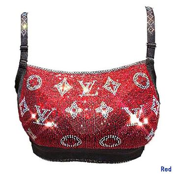 LV Louis Vuitton Hot Sale Women Fashion Luxury Shiny Diamond Bra Red