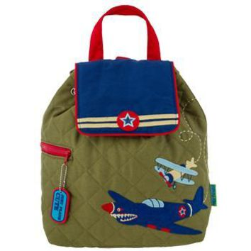 Personalized Quilted Stephen Joseph Backpack Retro Airplane