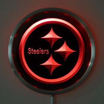 rs-b0055 Pittsburgh Steelers LED Neon Round Signs 25cm/ 10 Inch - Bar Sign with RGB Multi-Color Remote Wireless Control Function