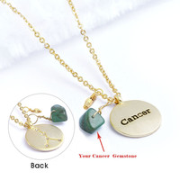 Cancer Necklace (Zodiac Astrology Horoscope Genuine 20 kt Gold Plated Brass Jewelry BN216-G)