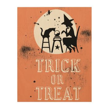 Trick or treat wood wall decor